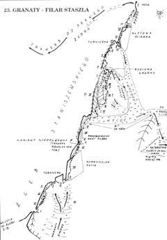 Schemat drogi wspinaczkowej Filarem Staszla